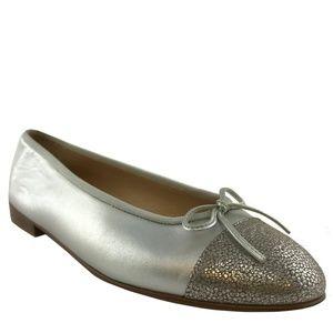 Chanel CC Cap Toe Leather Ballet Flats
